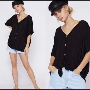 Bellanblue Tops - VAL Softest Button Down Tie Front Top - BLACK
